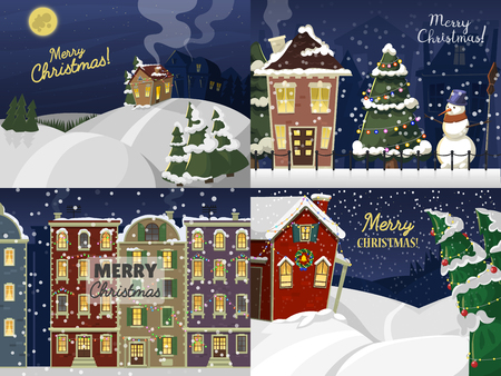 Merry Christmas street card vector background. Happy New Year 2017 greeting card template