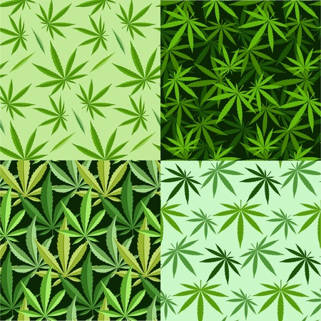 narcotic: Green marijuana background  illustration. set marijuana background leaf pattern repeat seamless repeats. Marijuana leaf background herb narcotic textile pattern. Different  patterns. Stock Photo