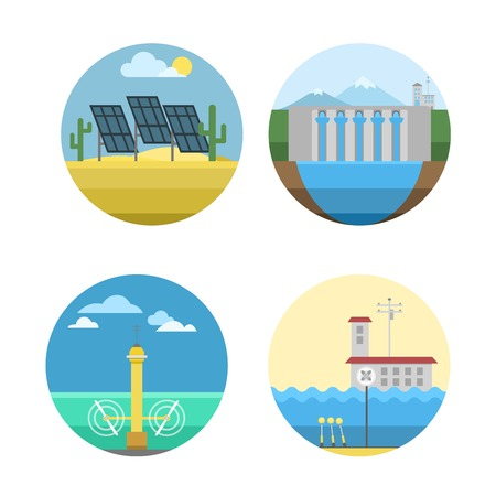 fuel and power generation: Different types of power and energy sources generation including wind, solar, hydro or water dam and other. Energy sources renewable or sustainable and energy sources power plants.