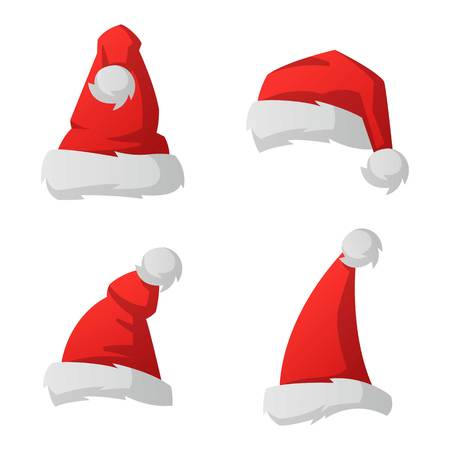 Just red christmas santa hat at white background set. Cold x-mas symbol fluffy santa christmas hat. Winter white fluffy fur holiday santa christmas hat traditional snow fuzzy accessory.
