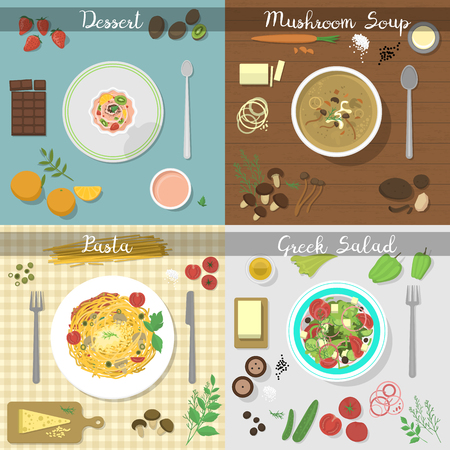 spaghetti bolognese: Collage of different plates with pasta bolognese and spaghetti with seafood. Different dishes plate lunch dinner tomato salad collage. Collection gourmet healthy cuisine different dishes vector.