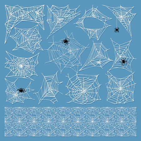 cobwebby: Spiders and spider web silhouette spooky nature element vector set. Cobweb decoration fear spooky spider web silhouette. Danger horror trap cobweb decoration spider web silhouette.