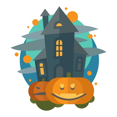 Set of happy halloween greeting card. Vector illustration party invitation design with emblem. Typographic halloween invitation cards template. Halloween cover design