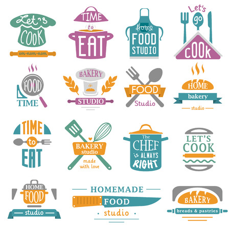 Bakery shop logos, badges and labels design elements set. Bread cake cafe vintage style objects retro vector. Cooking logo badge shop restaurant stamp. Cooking logo badge bakery typography. Çizim