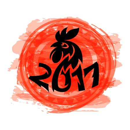 Cute cartoon rooster  icons illustration. New Year 2017 badges isolated on background. Bird ymbol, cock farm. cock farm animal vector