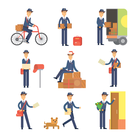 Set of postman delivery man character vector courier occupation carrier. Cute man delivery package transportation courier postman character. Mail business shipping man postman character deliver.