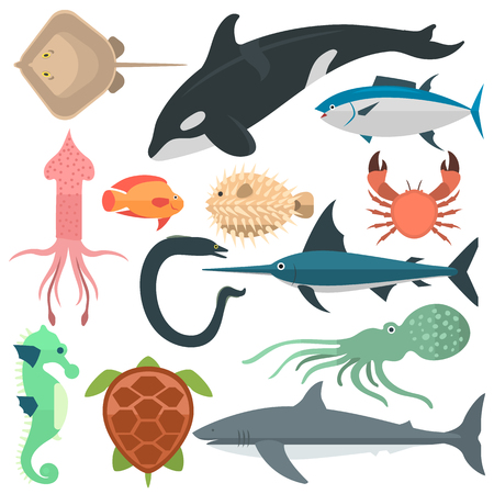 Vector set of cute sea animals creatures characters. Cartoon ocean underwater crab sea animals. Cute aquarium life water collection isolated turtle graphic aquatic tropical sea animals.