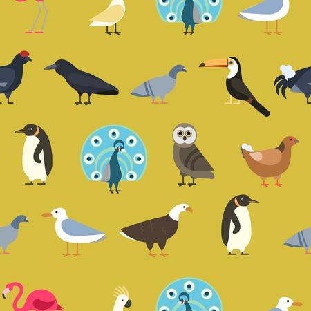 Vintage summer background, birds and wild animals fashion seamless pattern ornament, retro style fabric decoration and design. Season decorative romantic print.