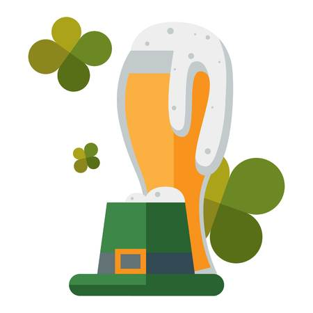 patric icon: Saint Patricks day traditional beer alcohol and funny green hat. Vector illustration holiday irish patric luck celebration symbols. Cartoon ireland culture greeting card. Illustration