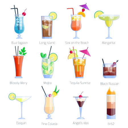 Set of alcoholic cocktails isolated on white background. Fruit cold drinks tropical cosmopolitan freshness collection. Party alcohol sweet tequila vector.