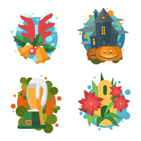 Vector flat christmas icons in retro style. Holidays celebration present collection party season and halloween elements. Cute greeting card decoration illustration. Illustration