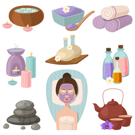 Vector illustrations of beautiful woman spa treatment, beauty procedures, wellness doodle icons. Herbal cosmetics aroma candles stones towels and lotus flower. Illustration