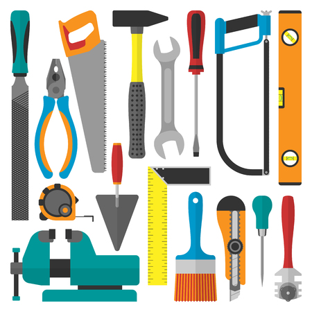 Home repair tools vector icons. Working construction saw, level, hammer, screwdriver and other construction instruments industry isolated on white background.