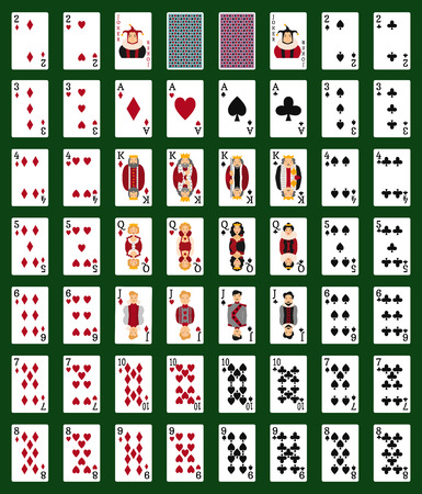 gamble: Poker set with isolated cards on green background. Casino gambling deck playing royal king queen jack gamble symbols. Blackjack club flush vector design. Illustration