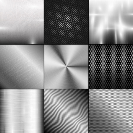 brushed aluminium: Metal texture background vector. Abstract polished brushed pattern. Silver shiny metallic surface. Industry gray design aluminium panel backdrop.