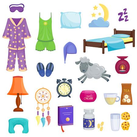 睡眠時間目覚まし枕と寝室家具分離ベクトル イラストでフラットのアイコンを設定します。夢リラックス フラット コレクションが眠っています。