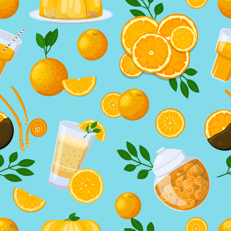 Vector vintage citrus tea seamless pattern with lemon, mandarin and grapefruit. Background design juice natural candy and sweets health care products. Illustration