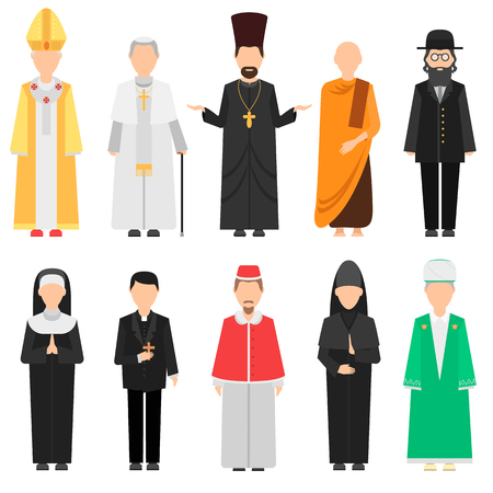 Religion people vector set. Group of different nationalities men and women wearing traditional clothes. Christianity traditional person portrait catholic.