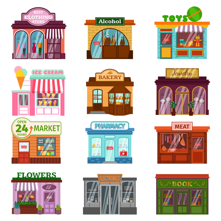ベクトル フラットなデザインのレストランやショップのファサード アイコンのセットです。衣料品、アルコール建物、アイスクリーム、花の店が含  イラスト・ベクター素材