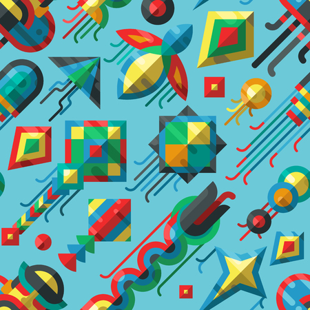 paper kites: Kites seamless pattern. Flying fun air art background. Retro fabric style vector illustration. Festival paper cartoon abstract joy toy. Color childhood happy activity. Illustration