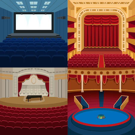 Stage theater background. Event premiere presentation scene. Theatrical textile auditorium entertainment. Vector illustration play classic poster. Illustration