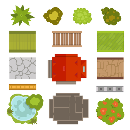 Set of landscape elements. Amusement park top view. Mountains, rocks, trees, lake house plants construction. Building architecture travel city structure symbols.