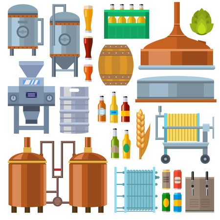 manufacturing plant: Brewing equipment at microbrewery. Beer factory production manufacturing plant machine for fermentation. Industrial beverage modern alcohol workshop vector. Illustration