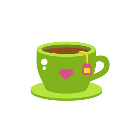 green tea cup: Green tea cup vector illustration. Hot healthy drink relax eating. Fresh green antioxidant herbal organic liquid. Refreshment teacup chinese mint aroma food.