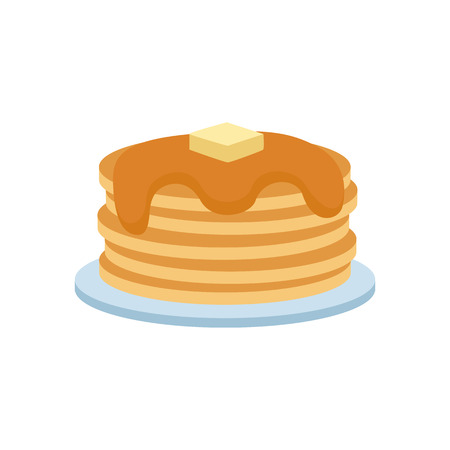 culinary: Pancakes with syrup and berries concept vector illustration. Delicious freshly cake buttermilk nutrition dish round cuisine. Morning honey traditional culinary.