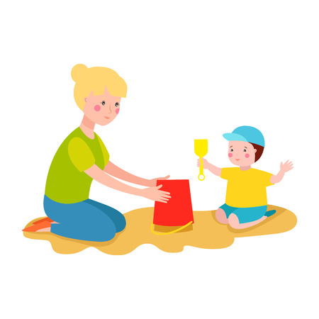 Happy kid playing in sandbox adorable cheerful little character. Childhood summer playground cute happy child outdoor with toy vector illustration.