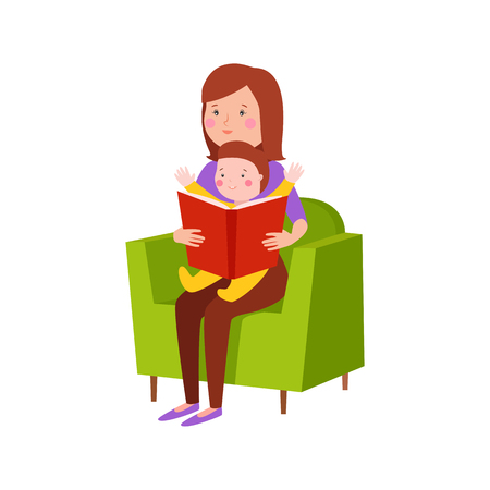 Young mother vector characters and happy parent. Togetherness newborn face parenting lifestyle cheerful motherhood. Adorable healthy happiness family portrait. Vector Illustration