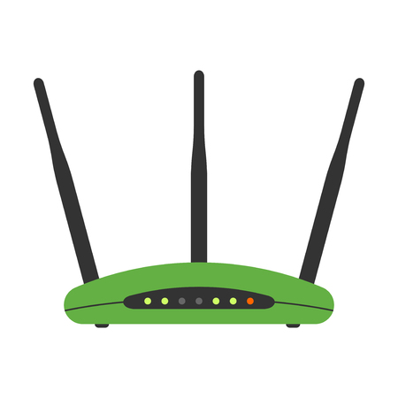 hotspot: Wifi modem router isolated on white. Computer network detailed flat icon graphic illustration. Business hotspot smartphone free zone digital design.