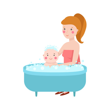 infant bathing: Young mother vector characters and happy parent. Togetherness newborn face parenting lifestyle cheerful motherhood. Adorable healthy happiness family portrait. Illustration