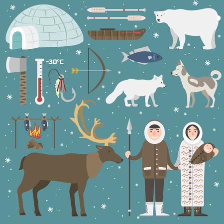 esquimales: animales divertidos y los esquimales del norte personas salvajes. Ilustración infantil conjunto ártico. fauna mamífero nieve oso polar frío. siberiano carácter diseño divertido.