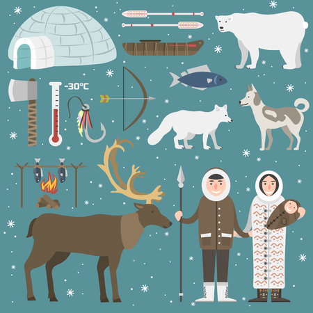Cute animals and eskimos wild north people. Childish vector illustration arctic set. Snow wildlife cold polar bear mammal. Siberian character funny design. Vettoriali