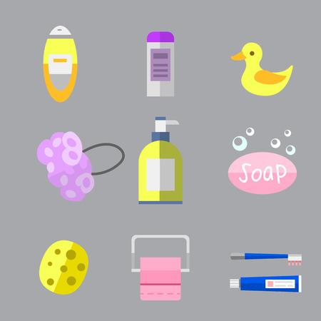 Set of color cosmetic bottle shampoos hygiene clean container lotion bath hair cream vector. Soap bath gel shower body care shampoo liquid. Bathroom tools.