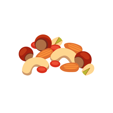 Heap from various kinds of nuts. Pile of almond, hazelnut, cashew, brazil nut isolated on white. Organic healthy seed ingredient and nature vector food illustration.