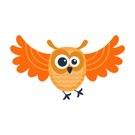 emotion expression: Cute vector funny cartoon owl. Animal character comic flying. Doodle cheerful with colorful emotion and humor eyes wild bird. Adorable expression graphic.