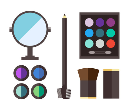 eyeshadow: Makeup icons perfume mascara care brushes and comb faced eyeshadow. Glamour accessory. Vector set beauty fashion professional facial cosmetic icon. Illustration