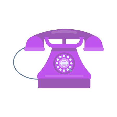 Modern connection vintage telephone isolated. Classic technology support symbol, retro mobile equipment. Communication call contact device vector.