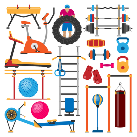 weight machine: Sport gym equipment. Physical heavy muscular strength iron machine. Bodybuilding power weight lifestyle. Strong trainer weightlifting recreation. Illustration