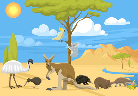 Cartoon Australia continent with different animals. Colorful illustration for children and kids. Different mammals design travel concept for education. Illustration