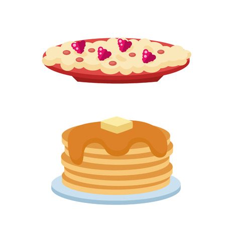 freshly: Pancakes with syrup and berries concept vector illustration. Delicious freshly cake buttermilk nutrition dish round cuisine. Morning honey traditional culinary.
