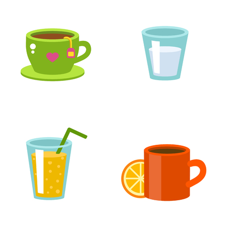 Detox drinks with fresh fruits berries lemon in glass jars. Vector cocktail with ice cold straw. Summer sweet orange liquid with fruit slice. Tropical nature smoothie. Illustration