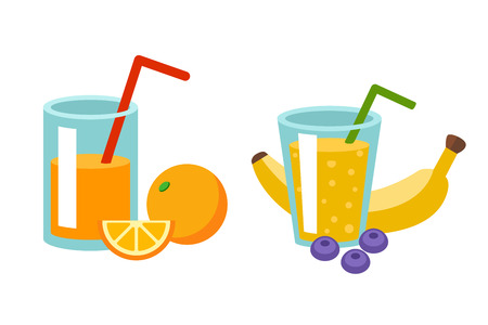 red straw: Detox drinks with fresh fruits berries lemon in glass jars. Vector cocktail with ice cold straw. Summer sweet orange liquid with fruit slice. Tropical nature smoothie. Illustration