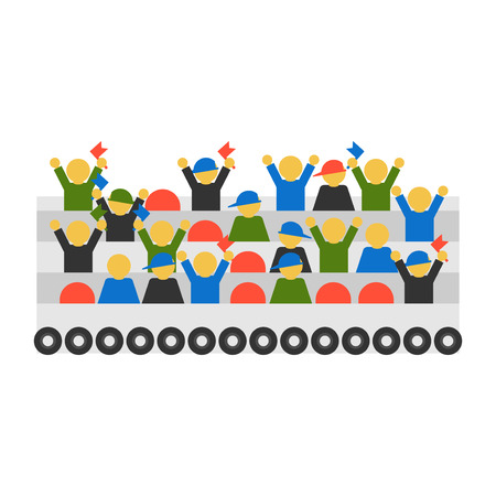 Fans vector on white background. Cheering silhouette people vector. Group championship or concert spectator team audience. Watching action happy characters.  イラスト・ベクター素材