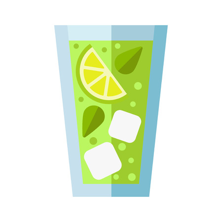 refreshing: Refreshing glass cocktail, lime and ice. Colourful vector illustration fresh holiday drink. Transparent martini lime liquor vodka mixed water vector. Illustration