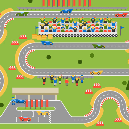 grand prix: Race track curve road vector. Top view of car sport competition constructor symbols. Circuit transportation tire speedway line. Automobile highway flare formula finish.