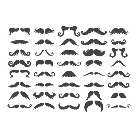 handlebar: Black silhouette vector mustache. Hair hipster set. Curly collection beard barber. Gentleman symbol fashion adult human facial gave. Cartoon person mask variation design. Illustration