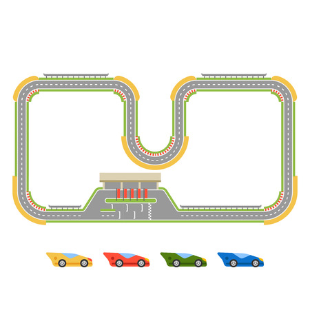 race track: Race track curve road vector. Top view of car sport competition constructor symbols. Circuit transportation tire speedway line. Automobile highway flare formula finish.